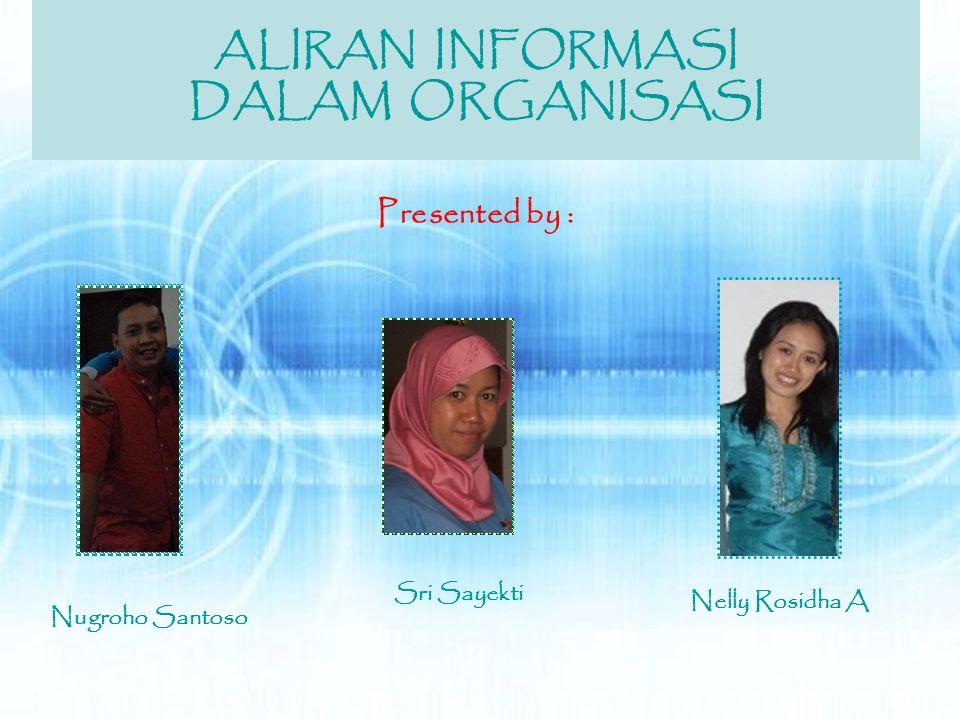 ALIRAN INFORMASI DALAM ORGANISASI Presented by : Sri Sayekti Nugroho Santoso Nelly Rosidha A
