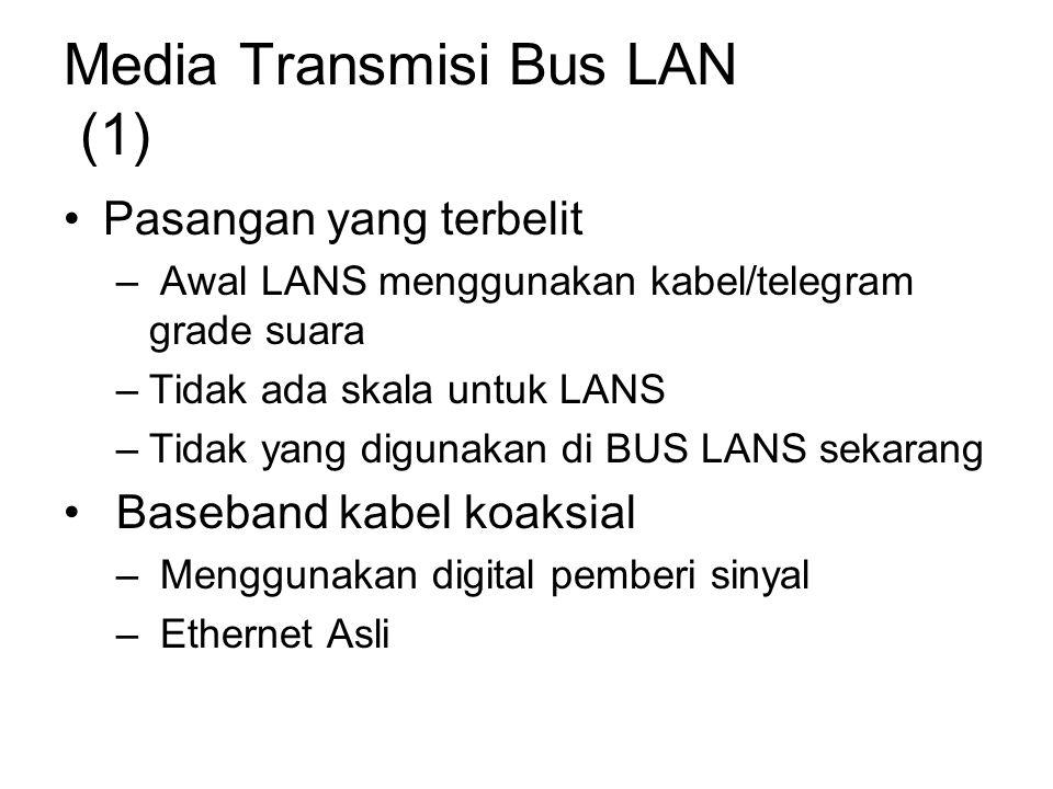Media Transmisi Bus LAN (1) Pasangan yang terbelit – Awal LANS menggunakan kabel/telegram grade suara –Tidak ada skala untuk LANS –Tidak yang digunakan di BUS LANS sekarang Baseband kabel koaksial – Menggunakan digital pemberi sinyal – Ethernet Asli