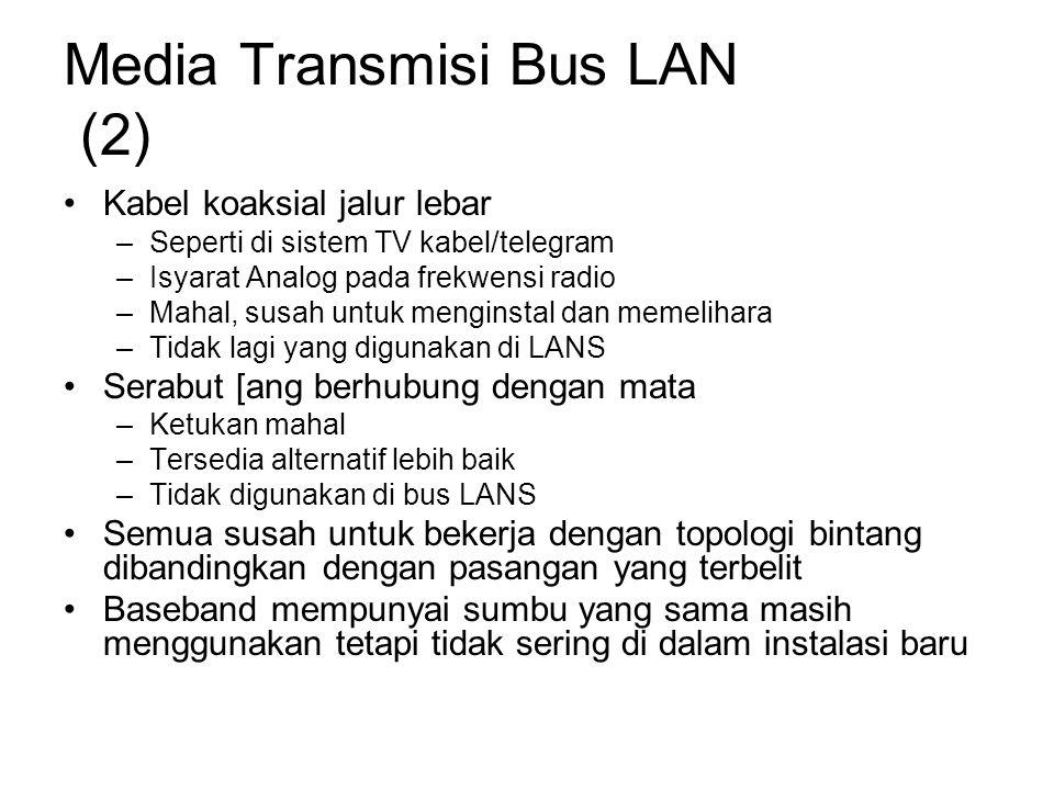 Media Transmisi Bus LAN (2) Kabel koaksial jalur lebar –Seperti di sistem TV kabel/telegram –Isyarat Analog pada frekwensi radio –Mahal, susah untuk menginstal dan memelihara –Tidak lagi yang digunakan di LANS Serabut [ang berhubung dengan mata –Ketukan mahal –Tersedia alternatif lebih baik –Tidak digunakan di bus LANS Semua susah untuk bekerja dengan topologi bintang dibandingkan dengan pasangan yang terbelit Baseband mempunyai sumbu yang sama masih menggunakan tetapi tidak sering di dalam instalasi baru