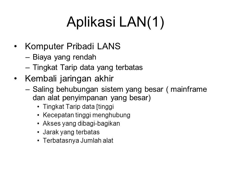 Aplikasi LAN(1) Komputer Pribadi LANS –Biaya yang rendah –Tingkat Tarip data yang terbatas Kembali jaringan akhir –Saling behubungan sistem yang besar ( mainframe dan alat penyimpanan yang besar) Tingkat Tarip data [tinggi Kecepatan tinggi menghubung Akses yang dibagi-bagikan Jarak yang terbatas Terbatasnya Jumlah alat