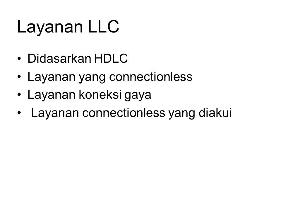 Layanan LLC Didasarkan HDLC Layanan yang connectionless Layanan koneksi gaya Layanan connectionless yang diakui
