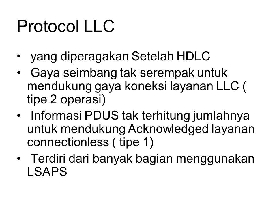 Protocol LLC yang diperagakan Setelah HDLC Gaya seimbang tak serempak untuk mendukung gaya koneksi layanan LLC ( tipe 2 operasi) Informasi PDUS tak terhitung jumlahnya untuk mendukung Acknowledged layanan connectionless ( tipe 1) Terdiri dari banyak bagian menggunakan LSAPS