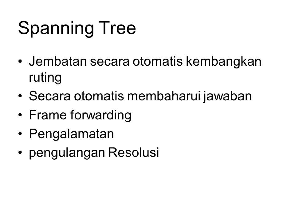 Spanning Tree Jembatan secara otomatis kembangkan ruting Secara otomatis membaharui jawaban Frame forwarding Pengalamatan pengulangan Resolusi