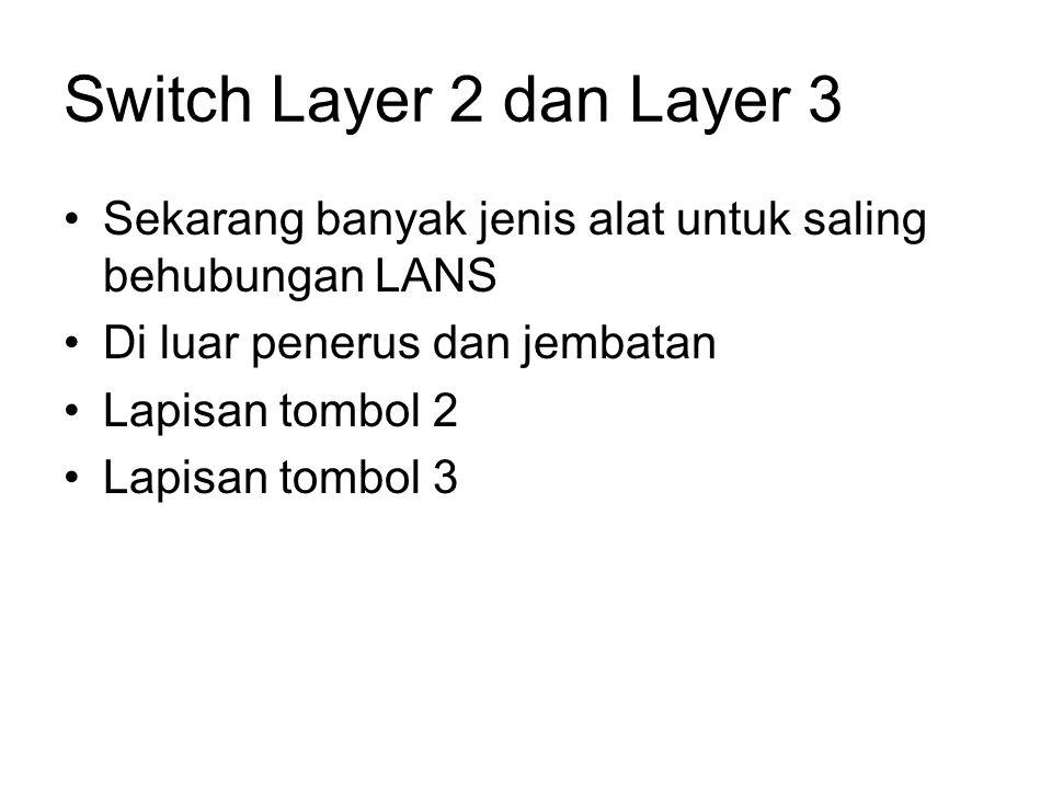 Switch Layer 2 dan Layer 3 Sekarang banyak jenis alat untuk saling behubungan LANS Di luar penerus dan jembatan Lapisan tombol 2 Lapisan tombol 3