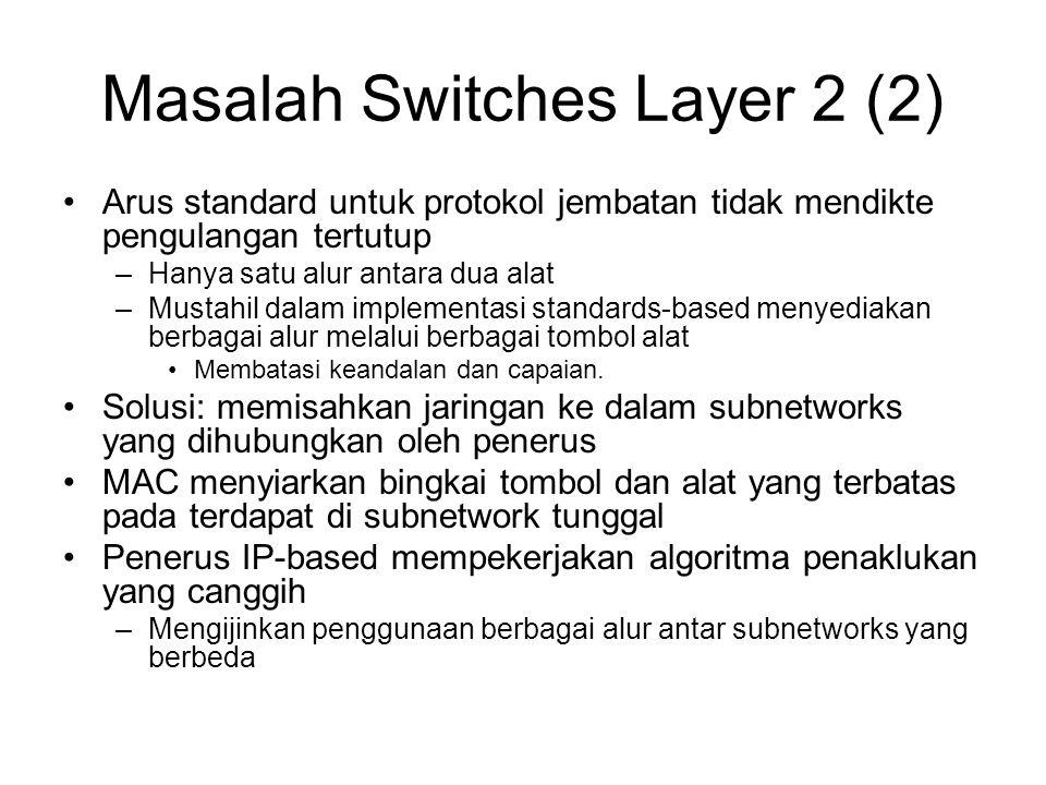 Masalah Switches Layer 2 (2) Arus standard untuk protokol jembatan tidak mendikte pengulangan tertutup –Hanya satu alur antara dua alat –Mustahil dalam implementasi standards-based menyediakan berbagai alur melalui berbagai tombol alat Membatasi keandalan dan capaian.