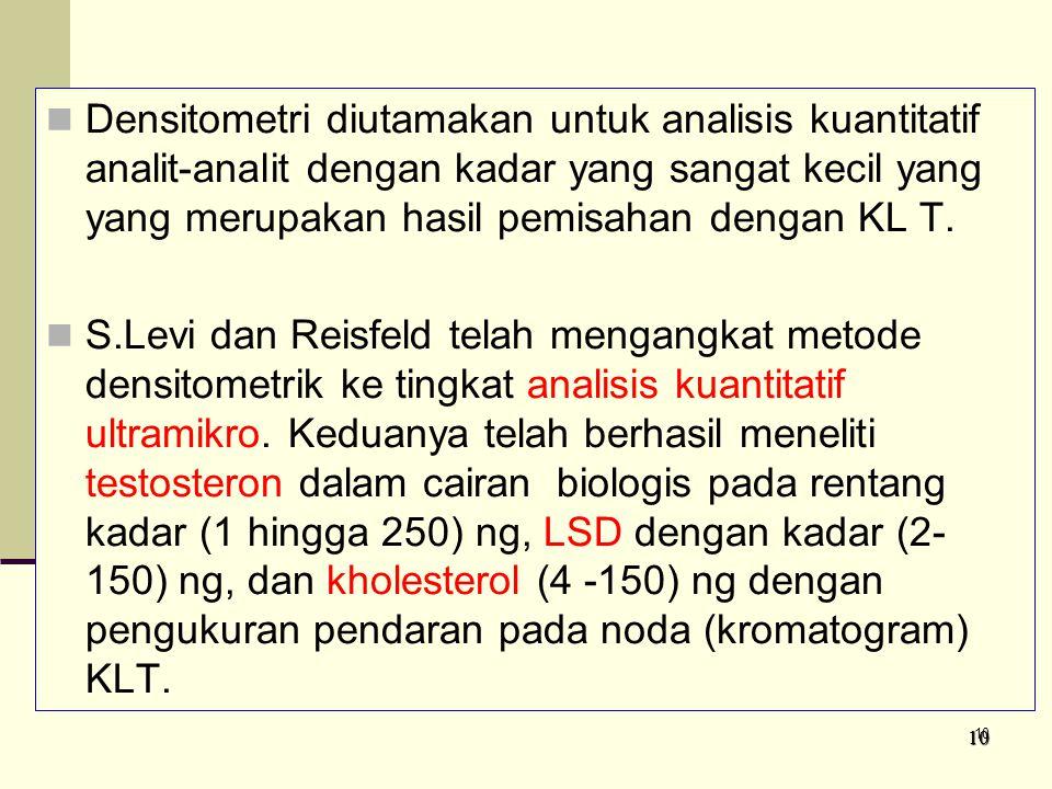Densitometri diutamakan untuk analisis kuantitatif analit-analit dengan kadar yang sangat kecil yang yang merupakan hasil pemisahan dengan KL T.