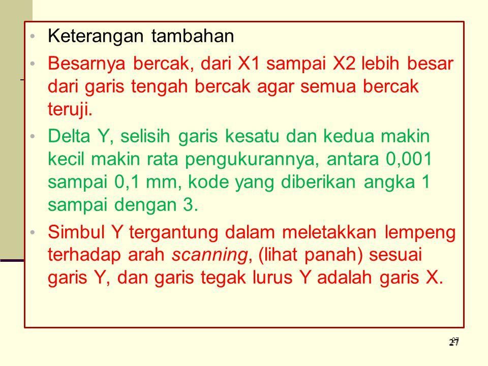 Keterangan tambahan Besarnya bercak, dari X1 sampai X2 lebih besar dari garis tengah bercak agar semua bercak teruji.