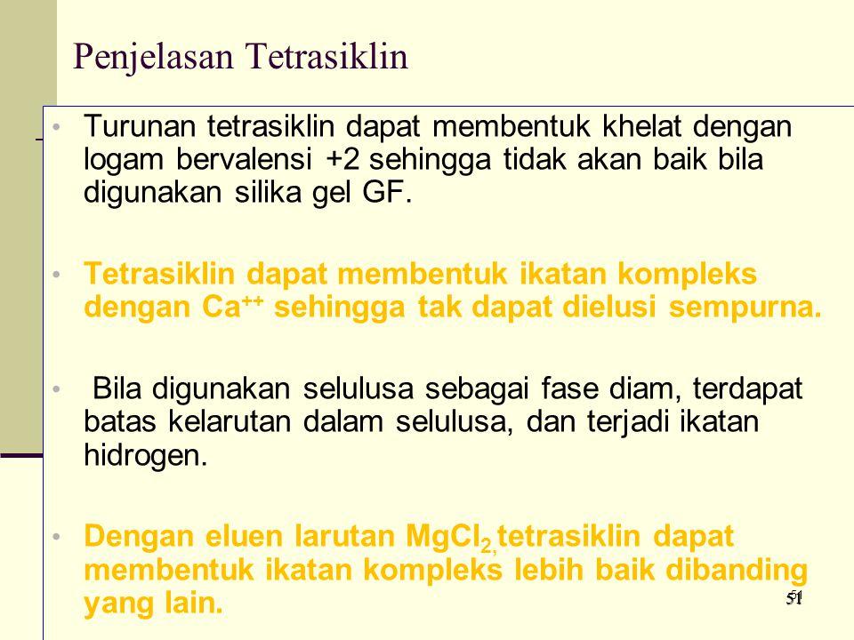 Penjelasan Tetrasiklin Turunan tetrasiklin dapat membentuk khelat dengan logam bervalensi +2 sehingga tidak akan baik bila digunakan silika gel GF.