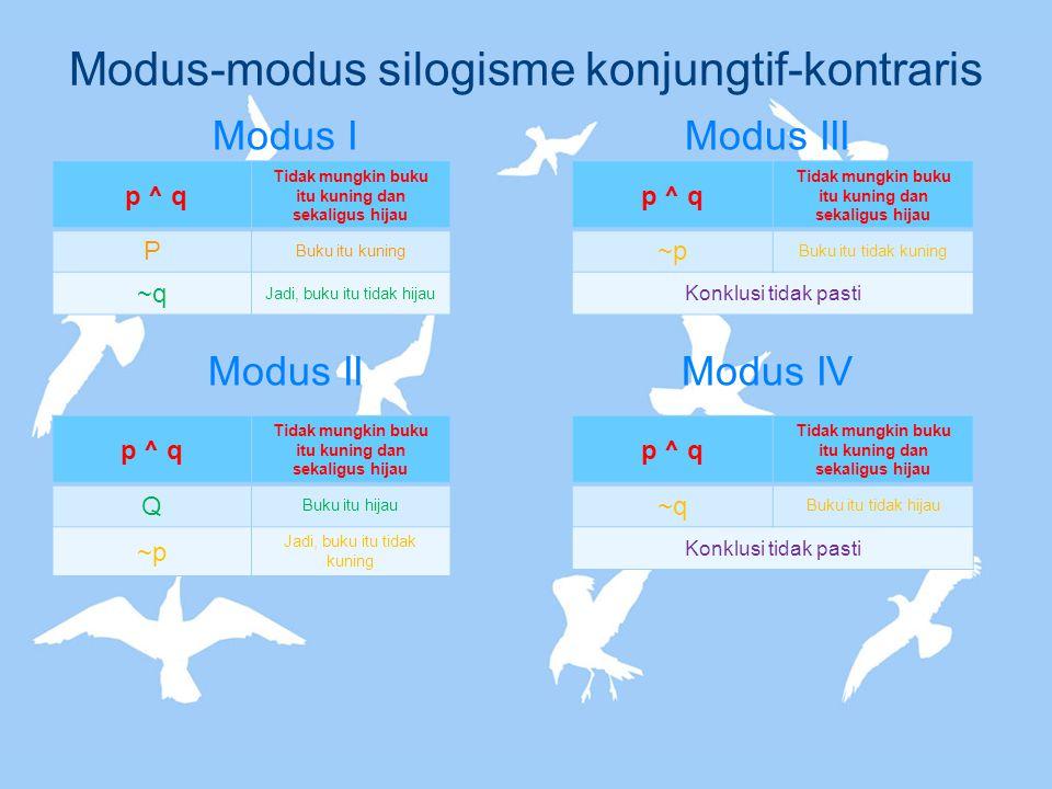 Modus-modus silogisme konjungtif-kontraris Modus I Modus II Modus III Modus IV p ^ q Tidak mungkin buku itu kuning dan sekaligus hijau P Buku itu kuni