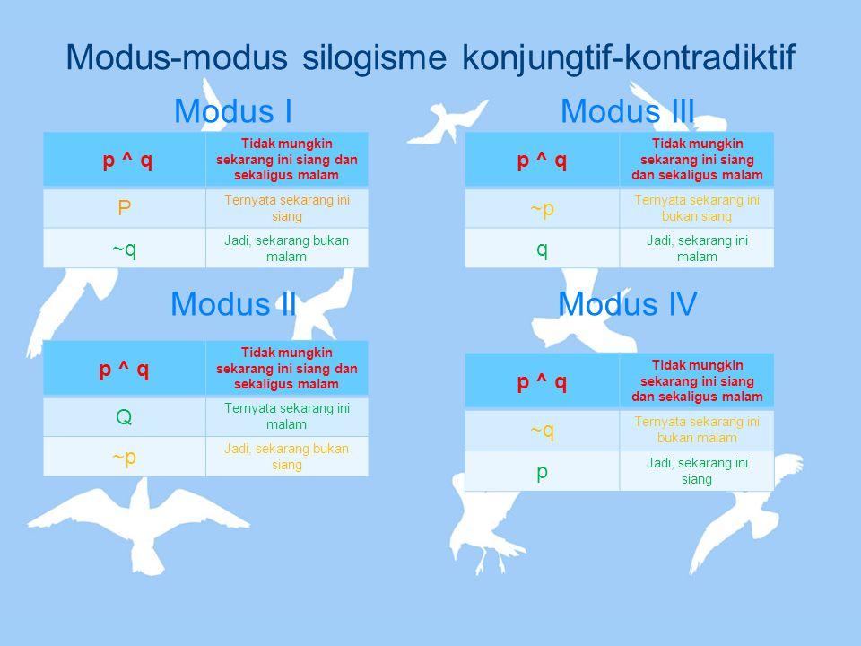 Modus-modus silogisme konjungtif-kontradiktif Modus I Modus II Modus III Modus IV p ^ q Tidak mungkin sekarang ini siang dan sekaligus malam P Ternyat