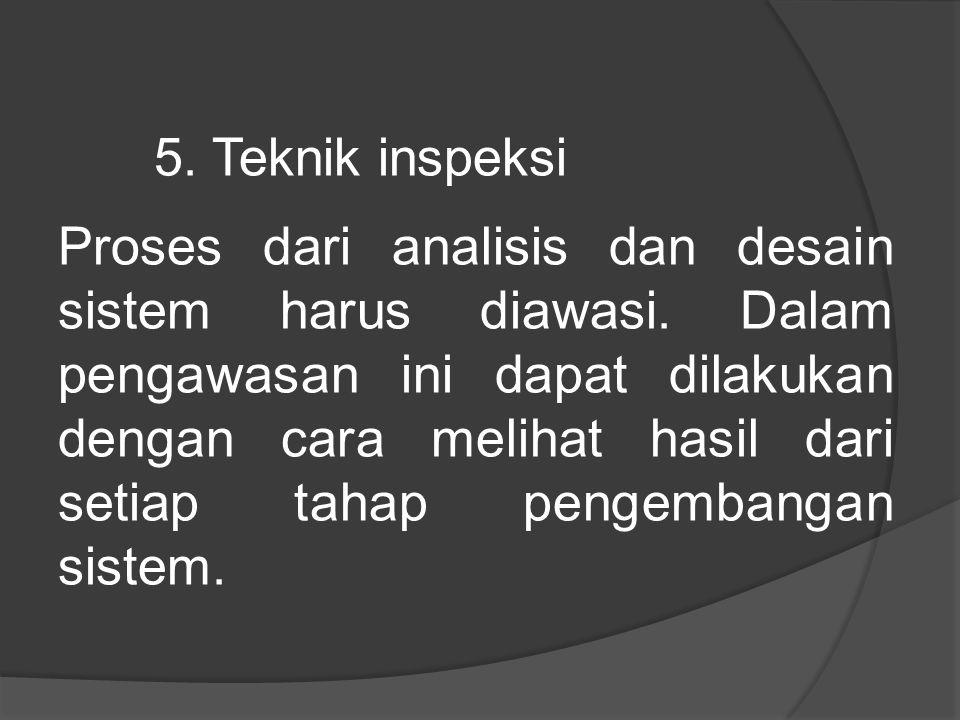 5.Teknik inspeksi Proses dari analisis dan desain sistem harus diawasi.
