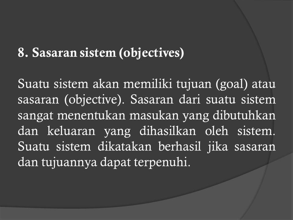 6. Keluaran sistem (output) Hasil dari energi yang diolah dan diklasifikasikan sehingga menjadi output yang berguna. Output dari suatu sistem dapat me
