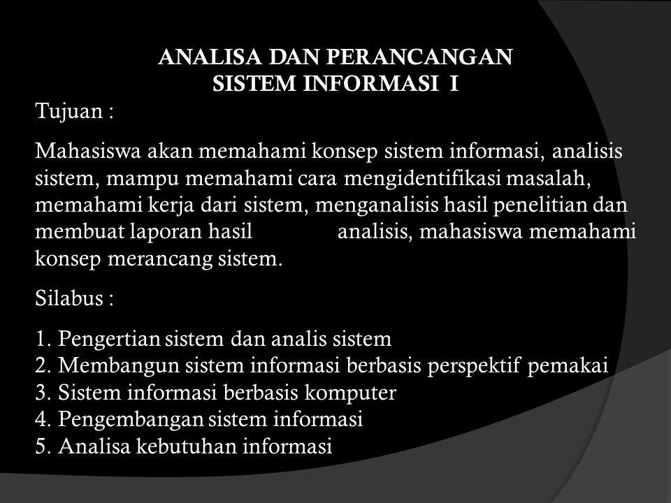 Analisa dan Perancangan Sistem Informasi Afijal, M.Kom
