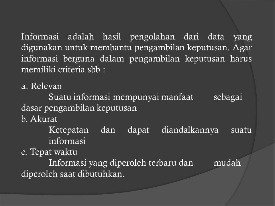 Informasi adalah hasil pengolahan dari data yang digunakan untuk membantu pengambilan keputusan.