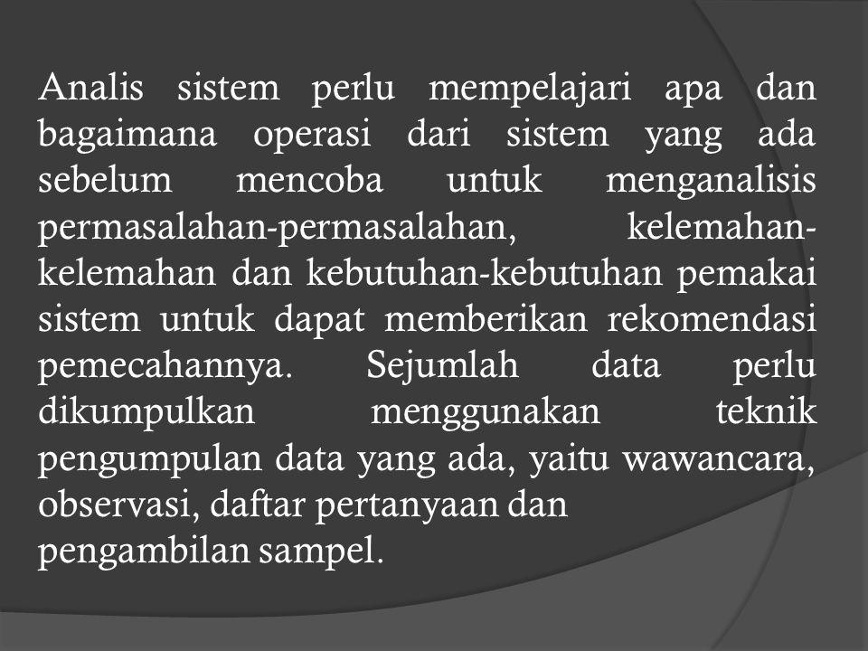 B. Memahami Kerja Sistem Langkah kedua dari tahap analisis sistem adalah memahami kerja dari sistem yang ada. Langkah ini dapat dilakukan dengan mempe