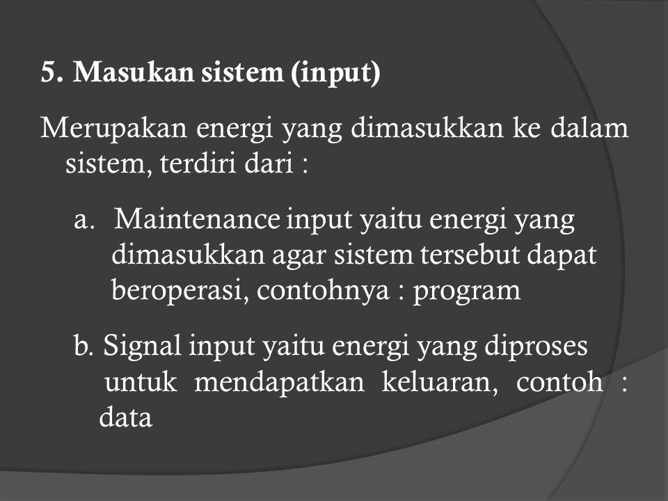 5.Masukan sistem (input) Merupakan energi yang dimasukkan ke dalam sistem, terdiri dari : a.