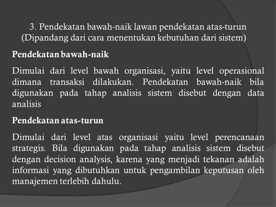 2. Pendekatan sepotong lawan pendekatan sistem (dipandang dari sasaran yang akan dicapai) Pendekatan sepotong Merupakan pendekatan pengembangan sistem