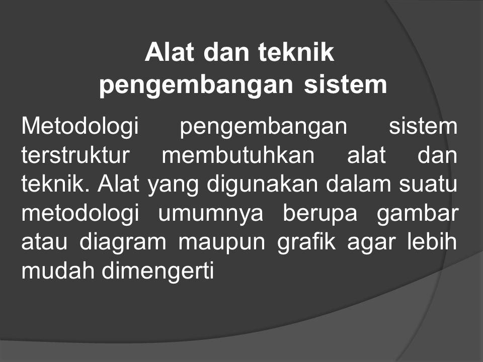 Alat dan teknik pengembangan sistem Metodologi pengembangan sistem terstruktur membutuhkan alat dan teknik.