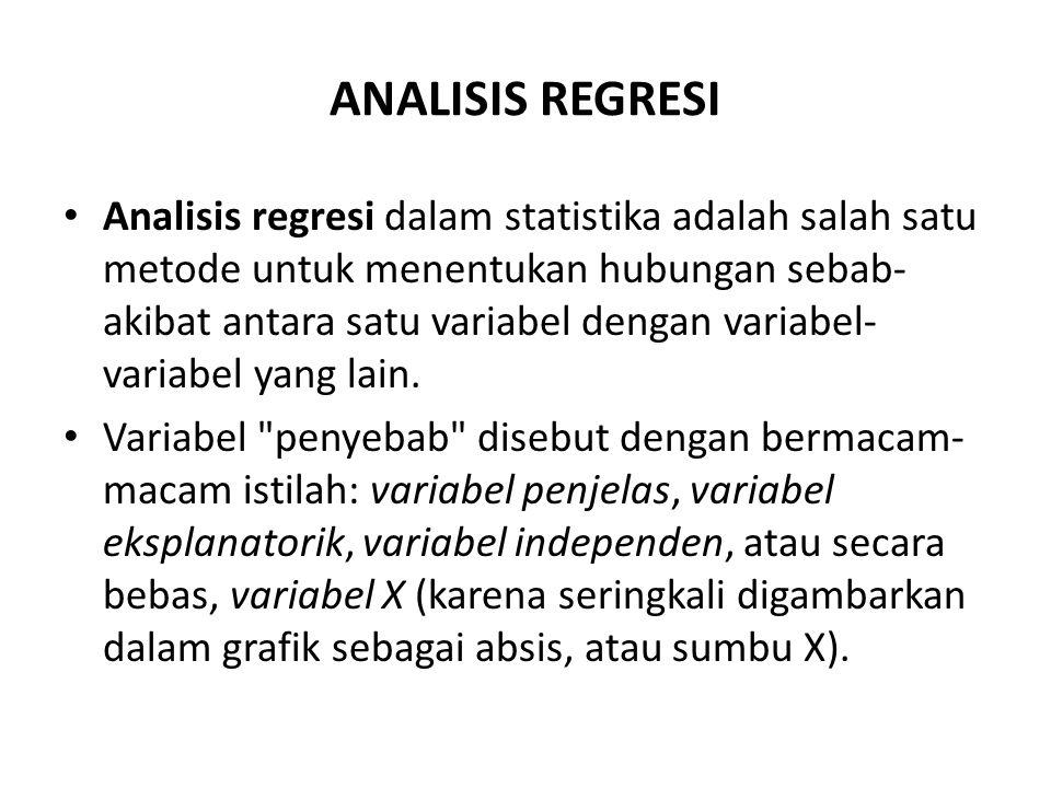 ANALISIS REGRESI Analisis regresi dalam statistika adalah salah satu metode untuk menentukan hubungan sebab- akibat antara satu variabel dengan variab