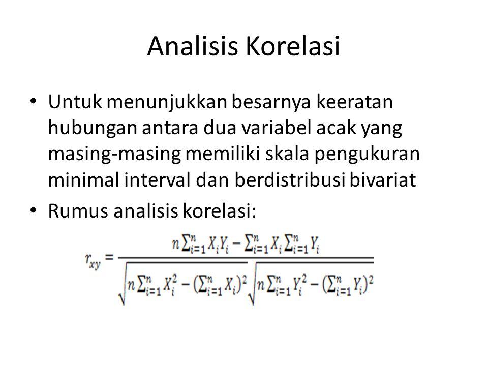 Analisis Korelasi Untuk menunjukkan besarnya keeratan hubungan antara dua variabel acak yang masing-masing memiliki skala pengukuran minimal interval