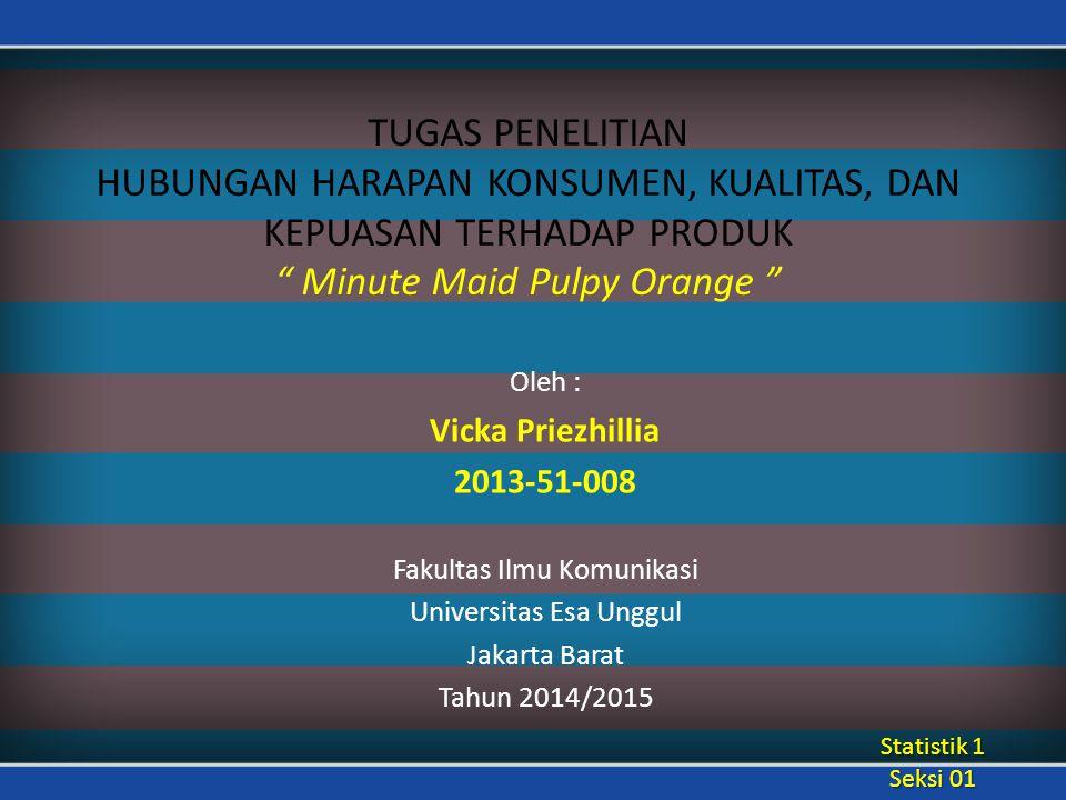 """TUGAS PENELITIAN HUBUNGAN HARAPAN KONSUMEN, KUALITAS, DAN KEPUASAN TERHADAP PRODUK """" Minute Maid Pulpy Orange """" Oleh : Vicka Priezhillia 2013-51-008 F"""