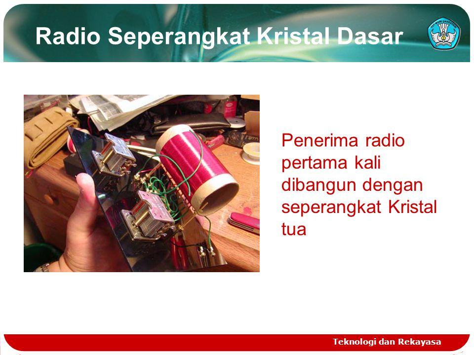 Radio Seperangkat Kristal Dasar Teknologi dan Rekayasa Penerima radio pertama kali dibangun dengan seperangkat Kristal tua