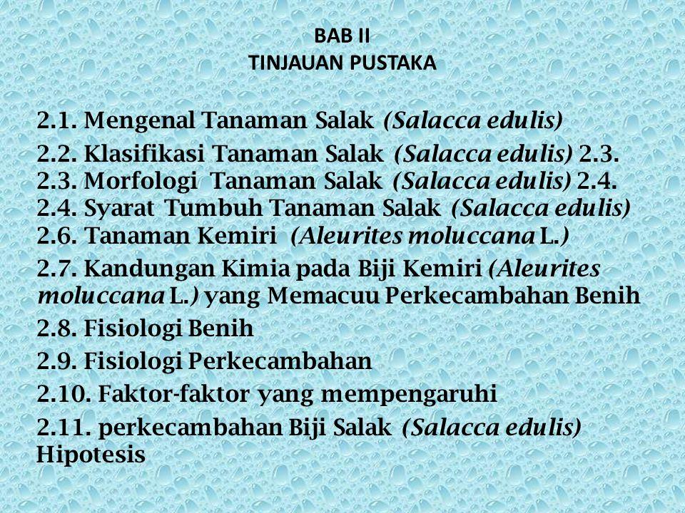 BAB II TINJAUAN PUSTAKA 2.1.Mengenal Tanaman Salak (Salacca edulis) 2.2.