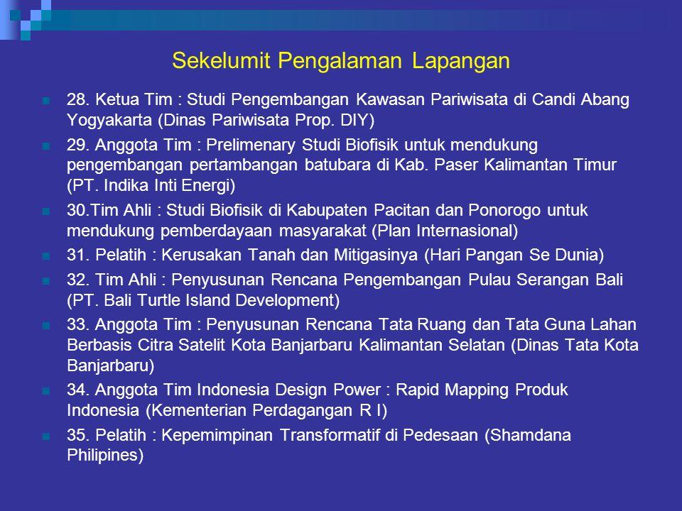 Sekelumit Pengalaman Lapangan 28. Ketua Tim : Studi Pengembangan Kawasan Pariwisata di Candi Abang Yogyakarta (Dinas Pariwisata Prop. DIY) 29. Anggota