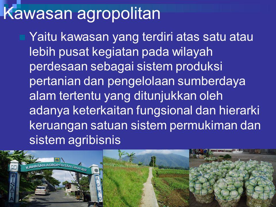 Kawasan agropolitan Yaitu kawasan yang terdiri atas satu atau lebih pusat kegiatan pada wilayah perdesaan sebagai sistem produksi pertanian dan pengelolaan sumberdaya alam tertentu yang ditunjukkan oleh adanya keterkaitan fungsional dan hierarki keruangan satuan sistem permukiman dan sistem agribisnis