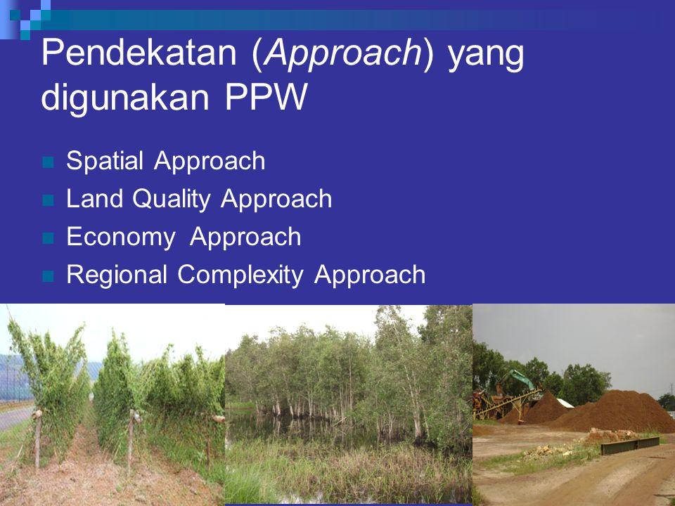 Pendekatan (Approach) yang digunakan PPW Spatial Approach Land Quality Approach Economy Approach Regional Complexity Approach