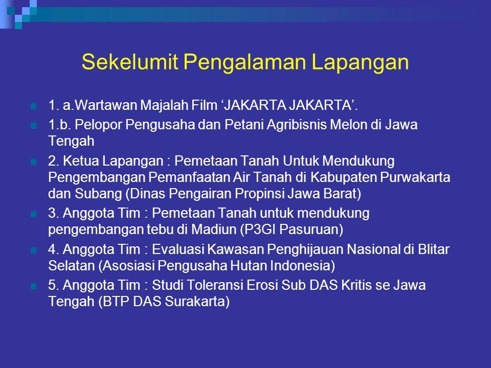 Sekelumit Pengalaman Lapangan 1. a.Wartawan Majalah Film 'JAKARTA JAKARTA'. 1.b. Pelopor Pengusaha dan Petani Agribisnis Melon di Jawa Tengah 2. Ketua