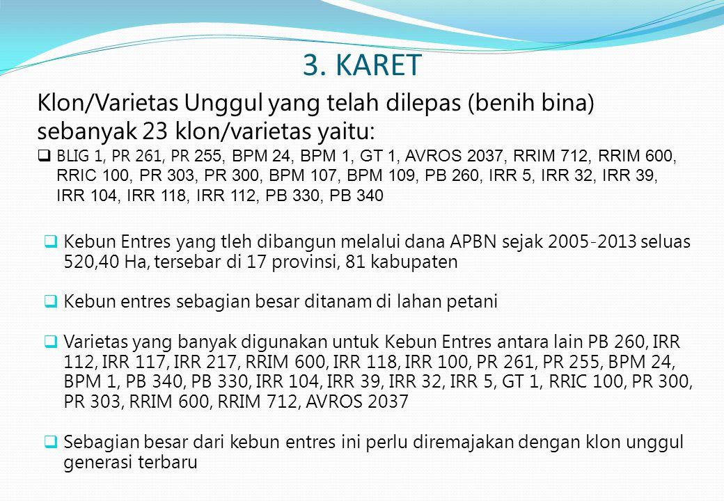 3. KARET  Kebun Entres yang tleh dibangun melalui dana APBN sejak 2005-2013 seluas 520,40 Ha, tersebar di 17 provinsi, 81 kabupaten  Kebun entres se