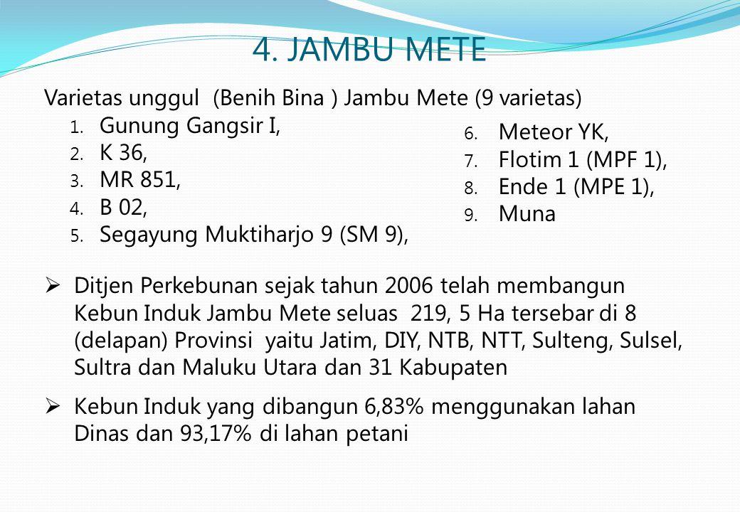 4. JAMBU METE Varietas unggul (Benih Bina ) Jambu Mete (9 varietas) 1. Gunung Gangsir I, 2. K 36, 3. MR 851, 4. B 02, 5. Segayung Muktiharjo 9 (SM 9),