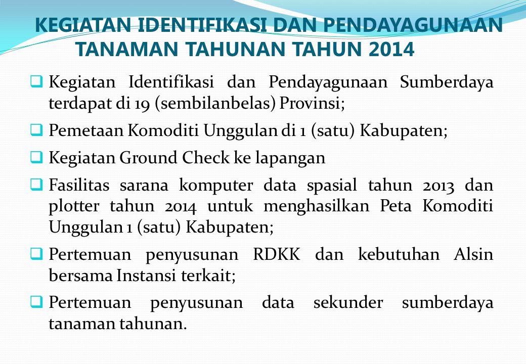 KEGIATAN IDENTIFIKASI DAN PENDAYAGUNAAN TANAMAN TAHUNAN TAHUN 2014  Kegiatan Identifikasi dan Pendayagunaan Sumberdaya terdapat di 19 (sembilanbelas)