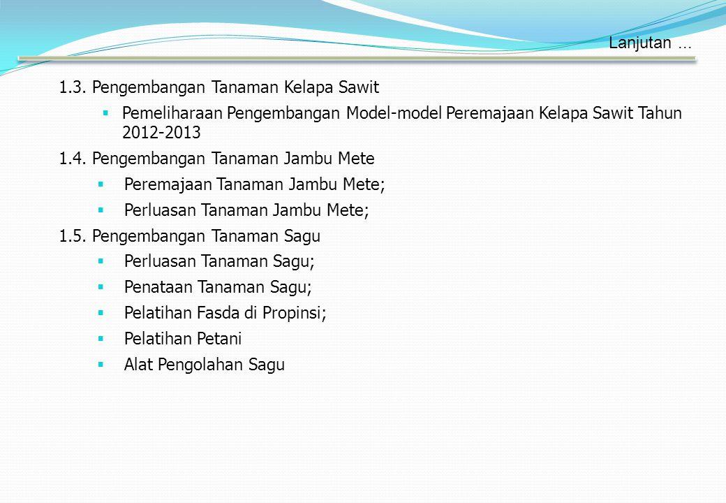 1.3. Pengembangan Tanaman Kelapa Sawit  Pemeliharaan Pengembangan Model-model Peremajaan Kelapa Sawit Tahun 2012-2013 1.4. Pengembangan Tanaman Jambu