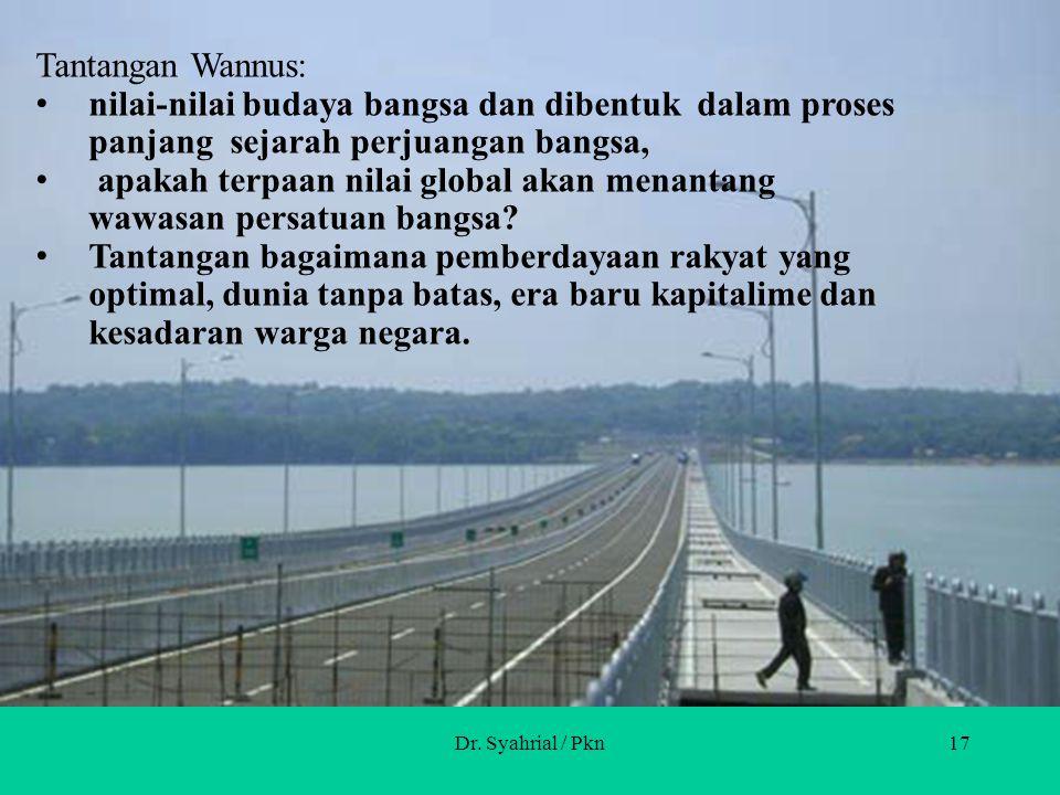 Dr. Syahrial / Pkn16 Implementasi: Wawasan Nusantara menjadi pola yang mendasari cara berpikir, bersikap,dan bertindak dalam rangka NKRI