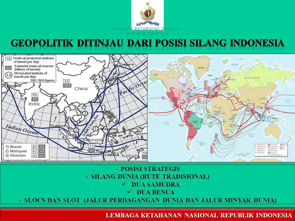 Dr. Syahrial / Pkn4 GEOPOLITIK INDONESIA Ciri Khas Indonesia : diapit 2 samudera (India & Pasifik) dan 2 benua (Asia & Australia), dibawah orbit Geost