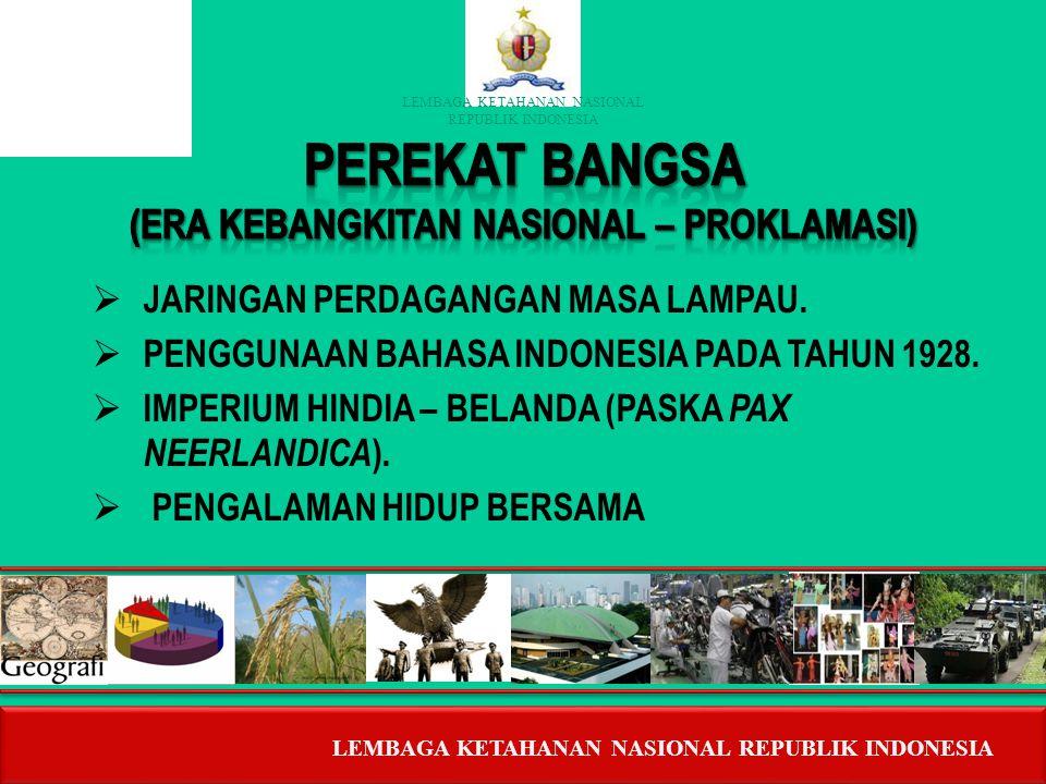 LEMBAGA KETAHANAN NASIONAL RERUBLIK INDONESIA Bangkitnya Patriotisme, Nasionalisme & Wawasan Kebangsaan. 3 Pilar Tonggak Sejarah Bangsa. 4 Pilar Wawas