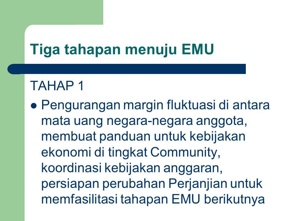 Tiga tahapan menuju EMU TAHAP 1 Pengurangan margin fluktuasi di antara mata uang negara-negara anggota, membuat panduan untuk kebijakan ekonomi di tingkat Community, koordinasi kebijakan anggaran, persiapan perubahan Perjanjian untuk memfasilitasi tahapan EMU berikutnya