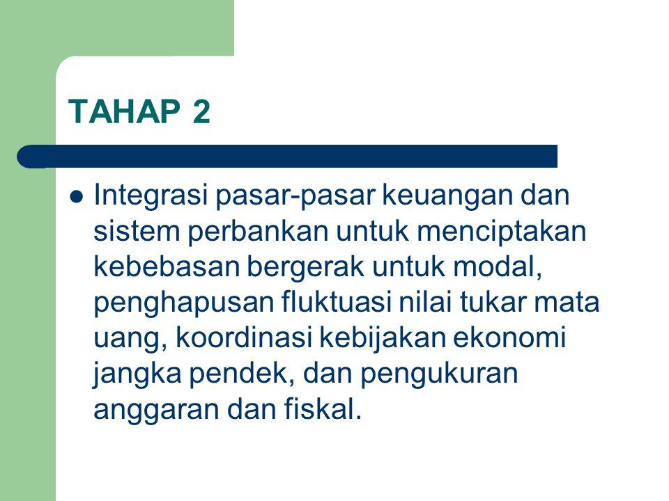 TAHAP 2 Integrasi pasar-pasar keuangan dan sistem perbankan untuk menciptakan kebebasan bergerak untuk modal, penghapusan fluktuasi nilai tukar mata uang, koordinasi kebijakan ekonomi jangka pendek, dan pengukuran anggaran dan fiskal.