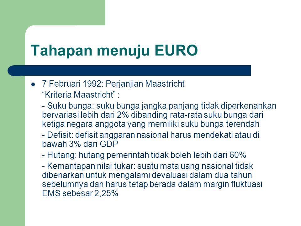 Tahapan menuju EURO 7 Februari 1992: Perjanjian Maastricht Kriteria Maastricht : - Suku bunga: suku bunga jangka panjang tidak diperkenankan bervariasi lebih dari 2% dibanding rata-rata suku bunga dari ketiga negara anggota yang memiliki suku bunga terendah - Defisit: defisit anggaran nasional harus mendekati atau di bawah 3% dari GDP - Hutang: hutang pemerintah tidak boleh lebih dari 60% - Kemantapan nilai tukar: suatu mata uang nasional tidak dibenarkan untuk mengalami devaluasi dalam dua tahun sebelumnya dan harus tetap berada dalam margin fluktuasi EMS sebesar 2,25%
