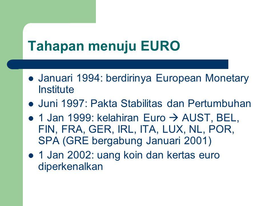 Tahapan menuju EURO Januari 1994: berdirinya European Monetary Institute Juni 1997: Pakta Stabilitas dan Pertumbuhan 1 Jan 1999: kelahiran Euro  AUST, BEL, FIN, FRA, GER, IRL, ITA, LUX, NL, POR, SPA (GRE bergabung Januari 2001) 1 Jan 2002: uang koin dan kertas euro diperkenalkan