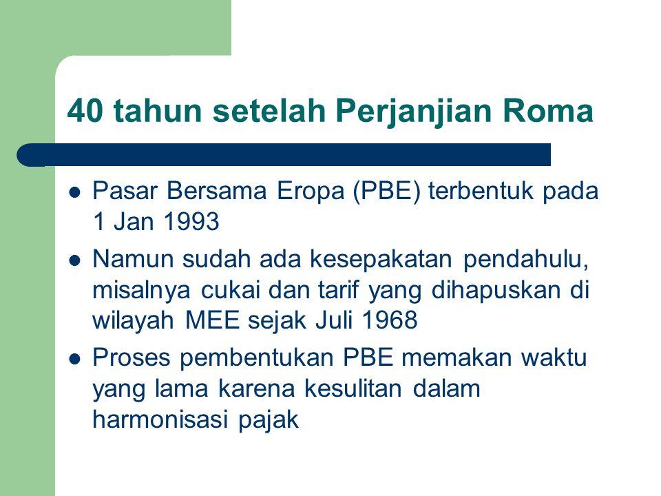 40 tahun setelah Perjanjian Roma Pasar Bersama Eropa (PBE) terbentuk pada 1 Jan 1993 Namun sudah ada kesepakatan pendahulu, misalnya cukai dan tarif y