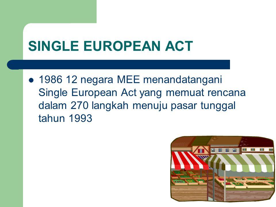 SINGLE EUROPEAN ACT 1986 12 negara MEE menandatangani Single European Act yang memuat rencana dalam 270 langkah menuju pasar tunggal tahun 1993