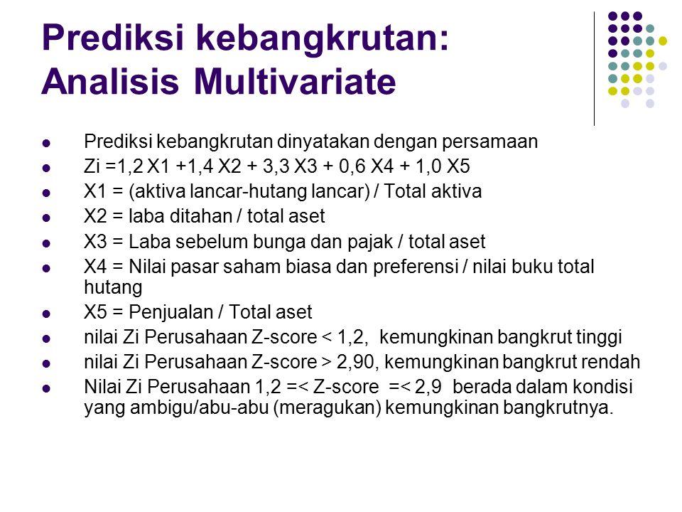 Prediksi kebangkrutan: Analisis Multivariate Untuk perusahaan yang tidak go public (tidak ada nilai pasar), prediksi kebangkrutan dinyatakan dengan persamaan Zi =0,717 X1 +0,847 X2 + 3,107 X3 + 0,42 X4 + 0,998 X5 X1 = (aktiva lancar-hutang lancar) / Total aktiva X2 = laba ditahan / total aset X3 = Laba sebelum bunga dan pajak / total aset X4 = Ekuitas / nilai buku total hutang X5 = Penjualan / Total aset nilai Zi Perusahaan Z-score < 1,2, kemungkinan bangkrut tinggi nilai Zi Perusahaan Z-score > 2,90, kemungkinan bangkrut rendah Nilai Zi Perusahaan 1,2 =< Z-score =< 2,9 berada dalam kondisi yang meragukan kemungkinan bangkrutnya (rawan bangkrut).