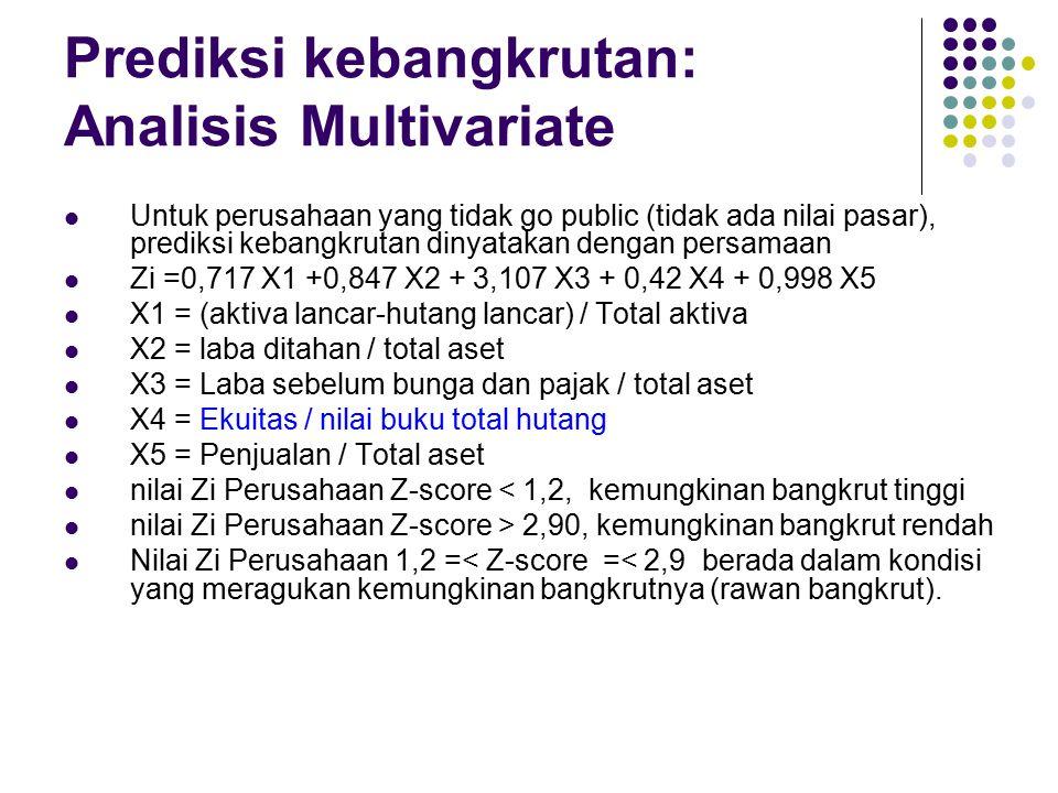 Prediksi kebangkrutan: Analisis Multivariate Untuk perusahaan yang tidak go public (tidak ada nilai pasar), prediksi kebangkrutan dinyatakan dengan pe