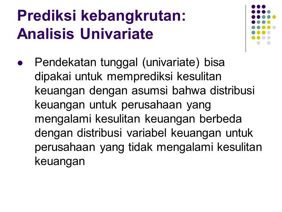 Prediksi kebangkrutan: Analisis Univariate Pendekatan tunggal (univariate) bisa dipakai untuk memprediksi kesulitan keuangan dengan asumsi bahwa distr