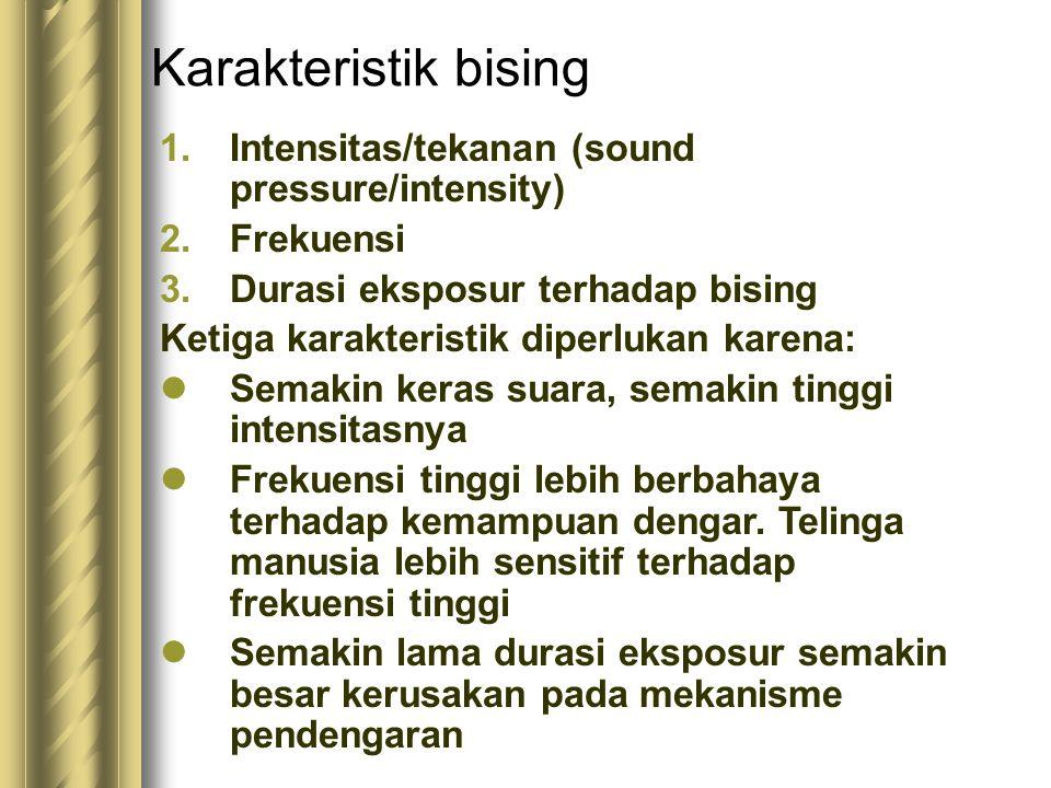 Karakteristik bising 1.Intensitas/tekanan (sound pressure/intensity) 2.Frekuensi 3.Durasi eksposur terhadap bising Ketiga karakteristik diperlukan kar