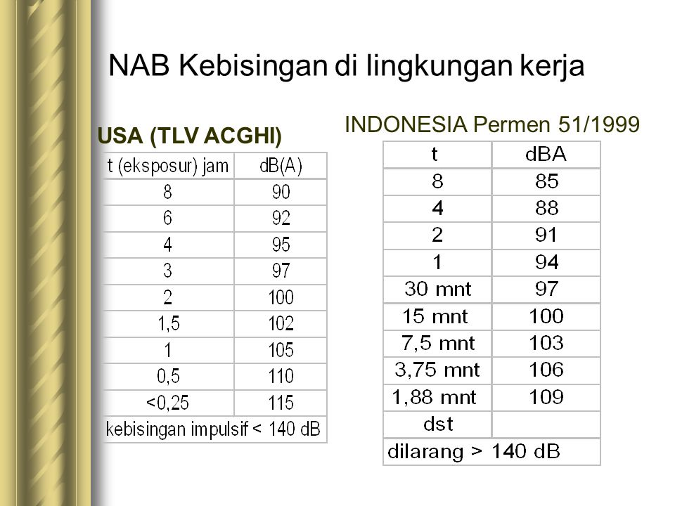 NAB Kebisingan di lingkungan kerja USA (TLV ACGHI) INDONESIA Permen 51/1999