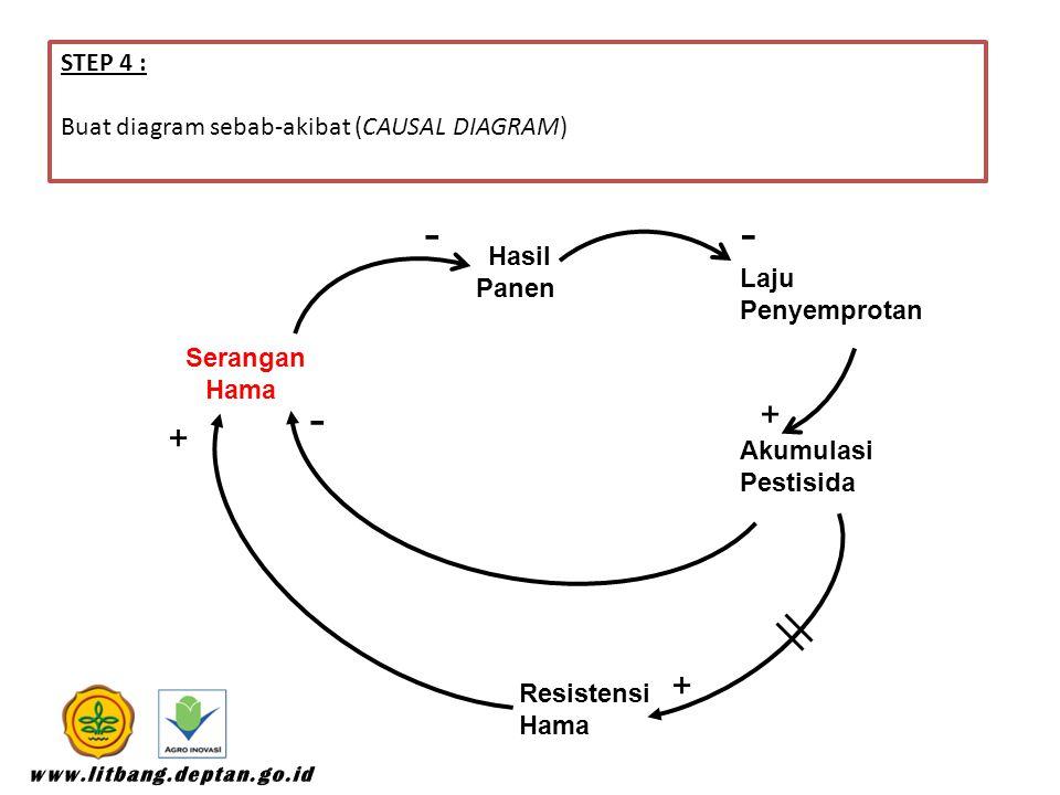 STEP 4 : Buat diagram sebab-akibat (CAUSAL DIAGRAM) Serangan Hama Hasil Panen Laju Penyemprotan Akumulasi Pestisida Resistensi Hama -- + + - +